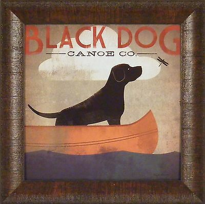 BLACK DOG CANOE CO by Ryan Fowler 15x15 FRAMED PRINT Lake Lab Ad Sign PICTURE