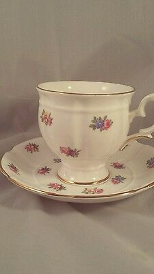 Crown Staffordshire English Bone China Teacup and Saucer Mini Roses