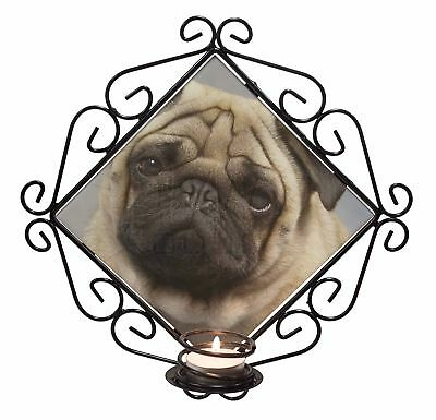 Fawn Pug Dog Wrought Iron T-light Candle Holder Gift, AD-P1CH