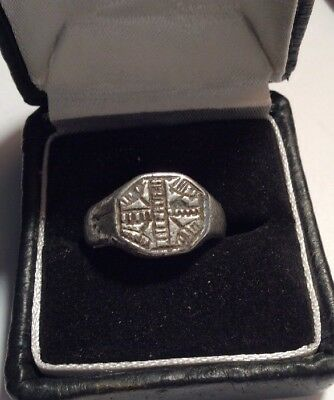 Rare fabulous Medieval antique white metal Signet token ring from the 1500s Lead