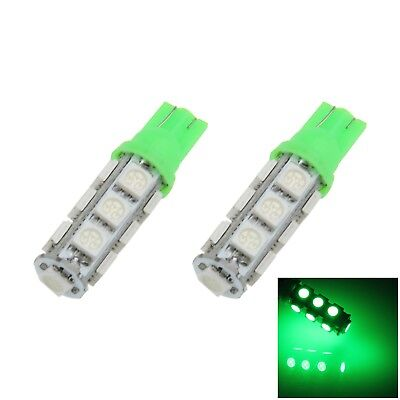 2x Green Car T10 W5W Tail Bulb Clearance Lamp 13 5050 SMD LED A012