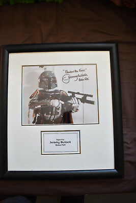 Framed Boba Fett Picture, actor Jeremy Bullock signature, STAR WARS Autograph