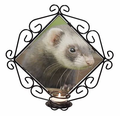 Ferret Print Wrought Iron T-light Candle Holder Gift, FER-2CH