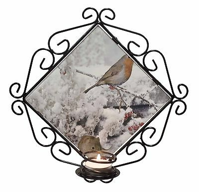 Snow Mouse and Robin Print Wrought Iron T-light Candle Holder Gift, AMO-5CH
