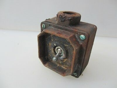 """Vintage Iron Light Switch Industrial Factory Antique Art Deco Old """"Tucker"""""""