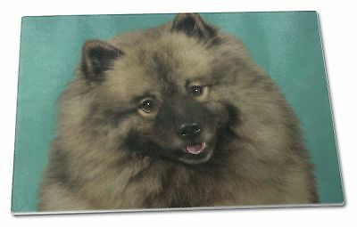 Keeshond Dog Extra Large Toughened Glass Cutting, Chopping Board, AD-KEE1GCBL