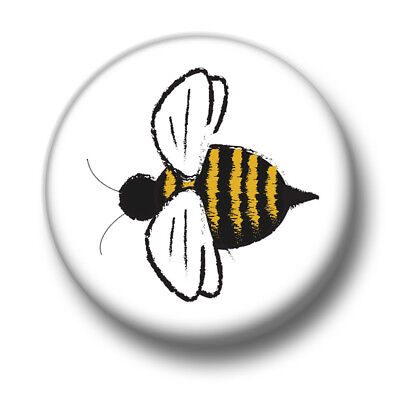 Bee 1 Inch / 25mm Pin Button Badge Honey Queen Insects Save The Bees Nature Fun