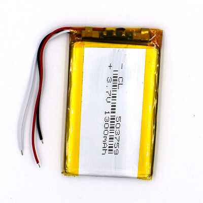 3.7 V 1300mAh 503759 3 Wire LiPolymer Rechargeable Battery LiPo Cell for GPS MP3