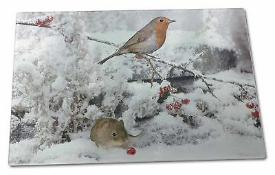 Snow Mouse and Robin Print Extra Large Toughened Glass Cutting, Chopp, AMO-5GCBL