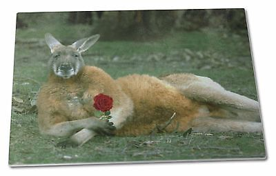 Kangaroo with Red Rose Extra Large Toughened Glass Cutting, Chopping , AK-1RGCBL