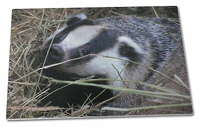 Badger in Straw Extra Large Toughened Glass Cutting, Chopping Board, ABA-1GCBL