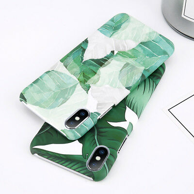 For Apple iPhone 8 X 6 7 Plus Shockproof Leaf Pattern Hard Ultra Thin Case Cover