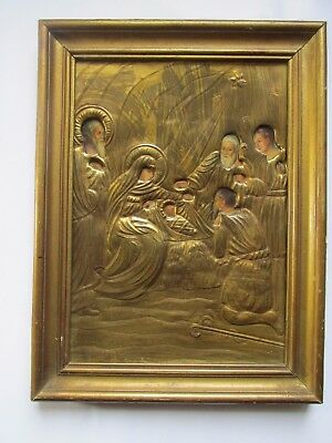"Antique Russian icon with  bronze  oklad (Riza) "" Nativity of Christ"""