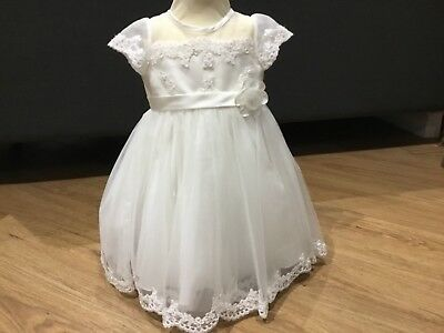 BNWT Girls Ivory Christening Dress by Sarah Louise Age 12m Style 70007