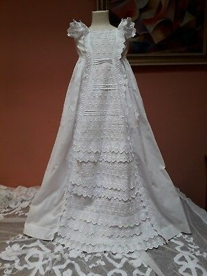 Vintage Christening Gown Embroidery Victorian White Cotton Baby Doll Original