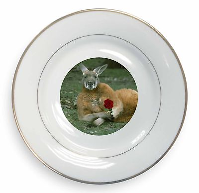 Kangaroo with Red Rose Gold Rim Plate in Gift Box Christmas Present, AK-1RPL