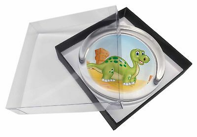 Childrens Dinosaur Glass Paperweight in Gift Box Christmas Present, DIN-2PW