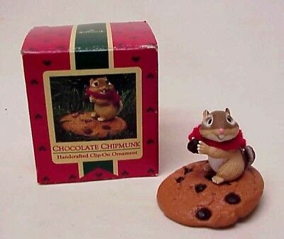 Vintage Hallmark Chocolate Chipmunk Christmas Ornament Clip-On Red Scarf 1987