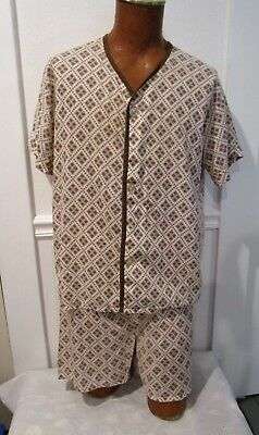 Vintage Fruit Of The Loom Mens Pajama Set, Top And Shorts, Hipster, Super 70's
