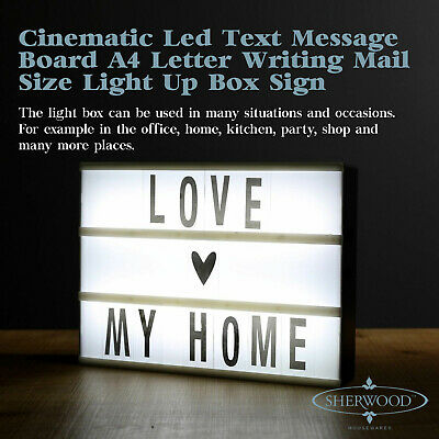 CINEMATIC LED TEXT MESSAGE BOARD A4 Letter Writing Mail Size Light Up Box Sign