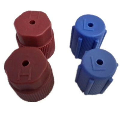 Hot 4 A/C Charging Port Service Caps, R134a,13mm&16mm 02 Red & 02 Blue S2EG