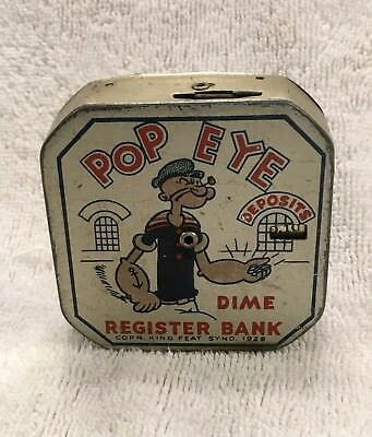 Vintage Tin Popeye Dime Register  Bank Excellent Condition  King Syndicate