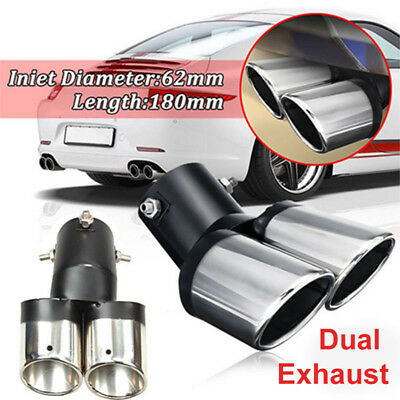 Universal Car Rear 62mm Curved Dual Exhaust Muffler Pipe Trim Tips Chrome Tail