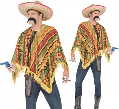 Mens Mexican Poncho & Moustache Instant Costume Kit Wild West Cowboy Costume