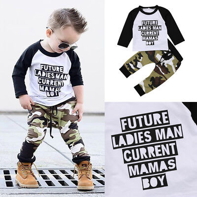 US Baby Boys Clothes Outfit Set Kids Camouflage T Shirt Tops + Long Pants xjj