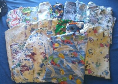 women's scrubs lot 15 pc medium - large  tops shirts short sleeve Scooby vintage