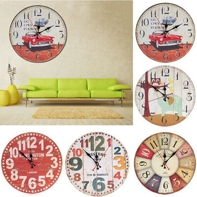Vintage Rustic Large Wooden Wall Clock Shabby Chic Antique Home Office Decor