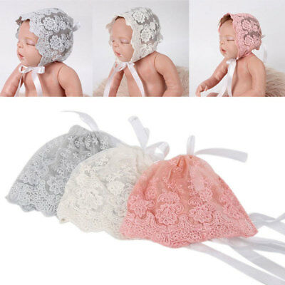 Lace and Tucks Newborn Baby Girl Bonnet Hat Christening Baptism PHOTO PROP
