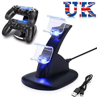 For Sony PS4 Dual Controller LED USB Charging Fast Charger Dock Station Stand UK