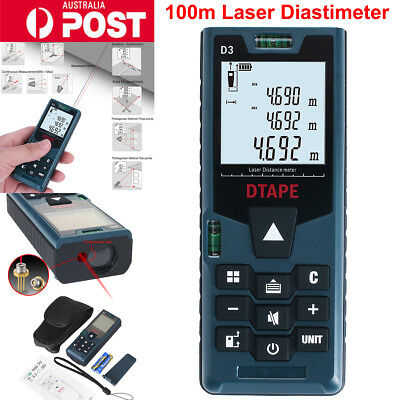 100m Digital Laser Distance Meter Measurer Area Volume Range Finder Tape Measure