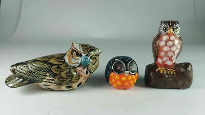 Small Colourful Owl Figurines Set Of 3