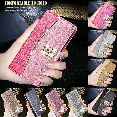 Bling Glitter Leather Flip Wallet Slim Card Case Cover for Samsung Galaxy S8 S9