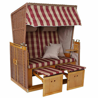 Poly-Rattan-Strandkorb MCW-A11, Volllieger Ostsee Nordsee rot/beige