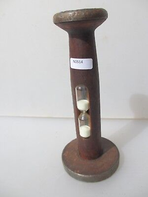 "Vintage Wooden Bobbin Egg Sand Timer Spool Reel Antique Old 7""H"