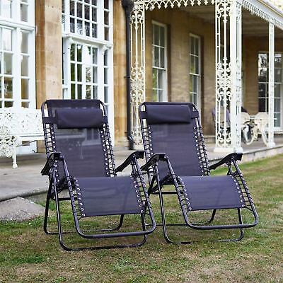 Set of 2 - Vinsani Textoline Gravity Garden Sun Lounger Reclining Chair - Black