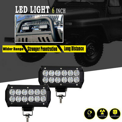 2x 36W 7INCH FLOOD BEAM  LED WORK LIGHT BAR OFFROAD ATV FOG TRUCK LAMP 4WD