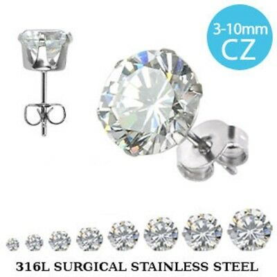 Pair of Prong Set Round CZ 316L Surgical Steel Stud Earrings - Various Sizes