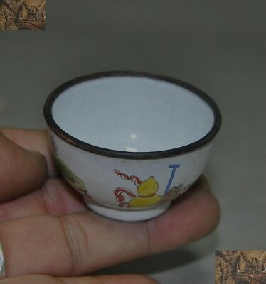 Old China Chinese antique bronze Cloisonne carving Eight treasure Tea cup Bowl