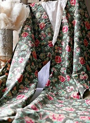 Vintage French Fabric Curtain Panels Green Pink Floral Cotton Chintz 2pc - Decor