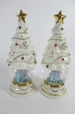Lenox Salt & Pepper Shakers Christmas Tree Snow Globes Festive Holidays Discont.