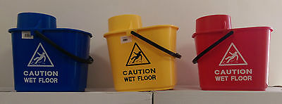 15L Professional Mop Bucket with Wringer Caution Wet Floor Sign Colour Coded