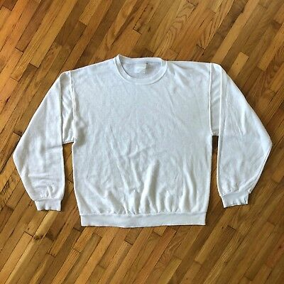 VINTAGE 1980s Burnout Super Soft Thin Sweatshirt Crewneck White Basic Minimal