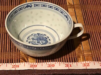 """Asian Porcelain Blue and White Dragon & Rice Pattern Tea Cup 4 1/4""""x2"""""""