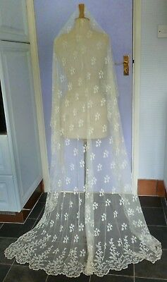 "A VICTORIAN TAMBOUR EMBROIDERED BRIDAL VEIL OR LARGE SHAWL - 87"" (221cm) Long"