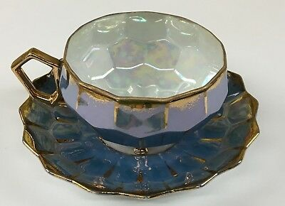 Vintage CASTLE China  JAPAN 3 footed TEA CUP & SAUCER IRIDESCENT BLUE