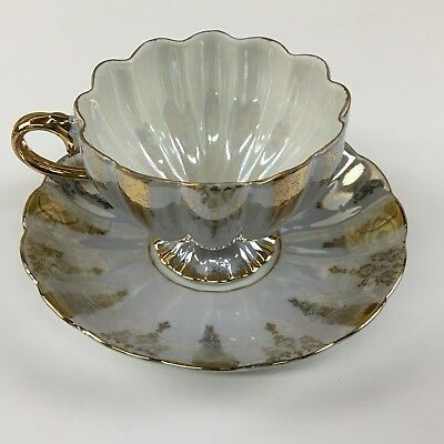 SHAFFORD China  JAPAN footed TEA CUP & SAUCER IRIDESCENT GOLD
